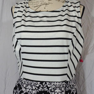 Xhiliration Black & White Sleeveless Dress XXL